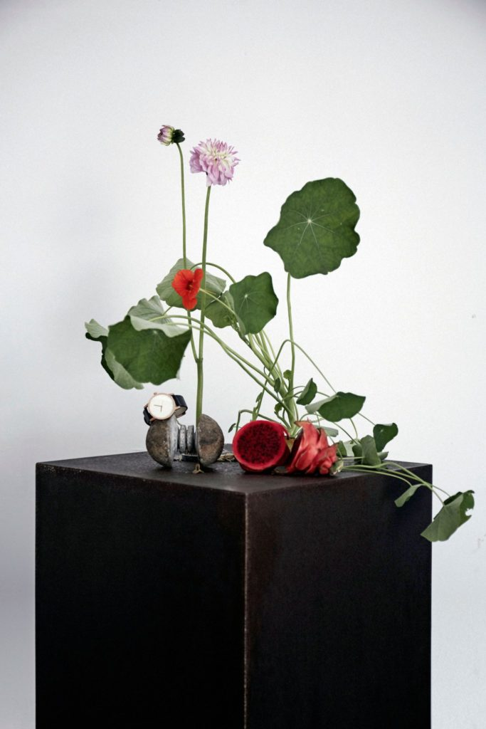 rusted steel plinth for Braer floral design with ikebana