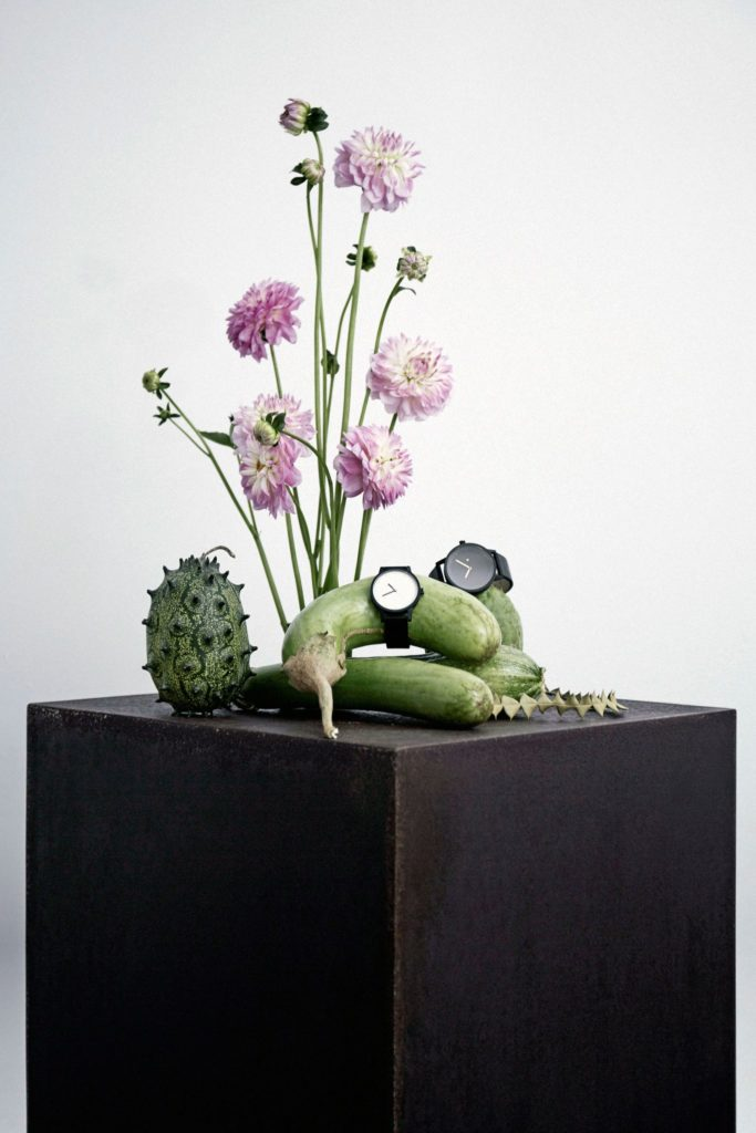 Braer floral design display plinths in black with ikebana