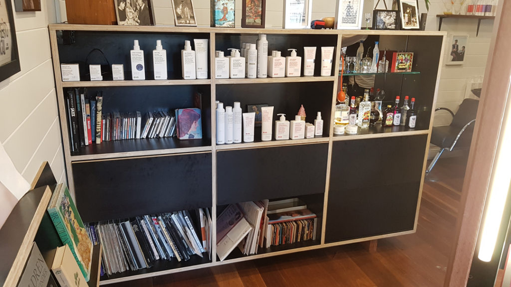frankie god of hair shop fitting hair salon mullumbimby cabinet